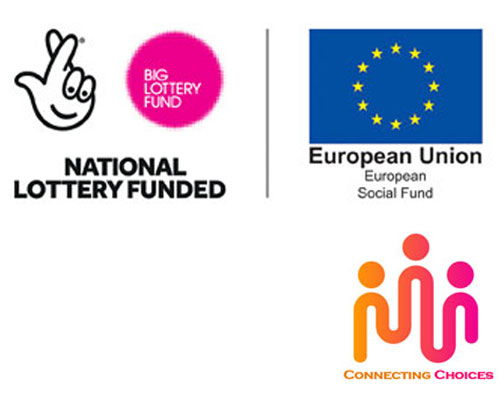 Connecting Choices, National Lottery and European Social Fund logos