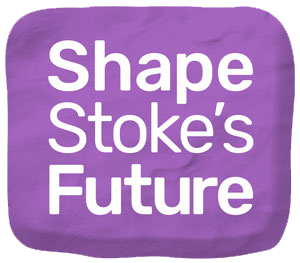 logo Shape Stoke's Future text over plasticine background